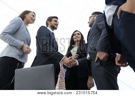 Close-up of handshake of two businessmen after an important agre