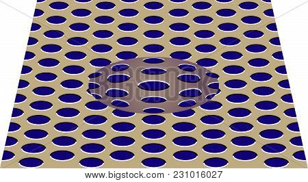 Movement Effect Of Sphere. Sphere Rolls Along Surface. Abstract Background With Optical Illusion Of