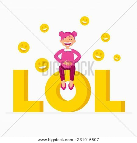 Lol Icon As A Laugh Out Loud Sign Yellow Symbol With A Funny Smiling Girl With Pink Hair Sitting On