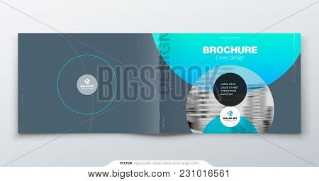 Grey Silver Brochure Design. Horizontal Cover Template For Brochure, Report, Catalog, Magazine. Layo