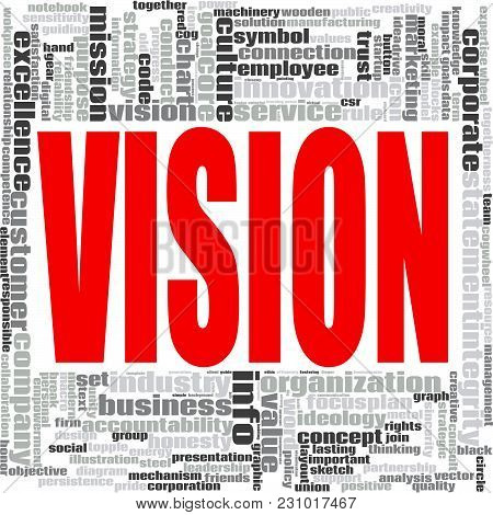 Vision Word Cloud Concept On White Background, 3d Rendering