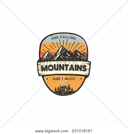 Travel Logo Design Concept. Retro Colors Style. Mountain Adventure Badge, Travel Logo Template. Camp
