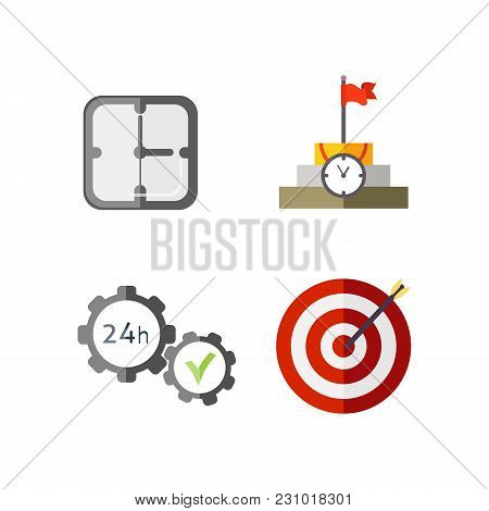 Time Management Planning And Control. Clock, Timer, Speed, Alarm, Restore, Calendar. Vector Flat Ill