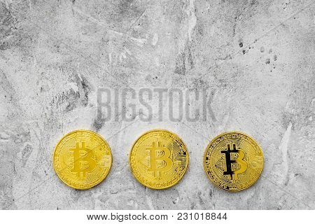 Bitcoin Digital Money For Finance And Online Buy Or Sell On Gray Stone Desk Background Top View Mock