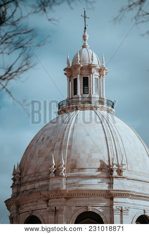 Close Up Of White Cupola Of The National Pantheon In Lisbon. Lisboa Lissabon.