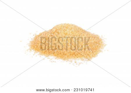 Pile Of Unbleached Tiny Cube Brown Sugar On White Background