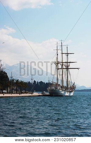 View Of Luxury Yacht Marina In The Adriatic - Porto Montenegro . Bay Of Kotor, Tivat, Montenegro
