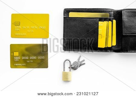 Protection Of Banking Transactions. Bank Cards Near Lock And Keys On White Background Top View.