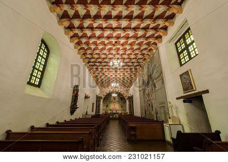 San Francisco, California - March 10, 2018: Interior Of Church Of Mission San Francisco De Asis, Or