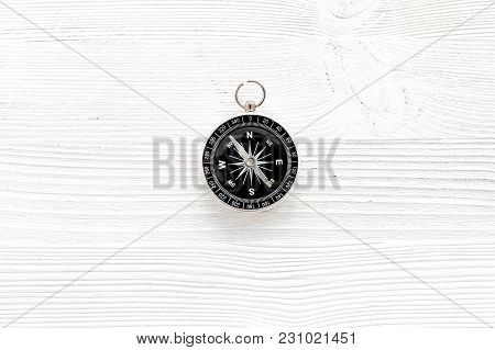 Direction Concept With Compass On White Wooden Table Background Top View Mockup