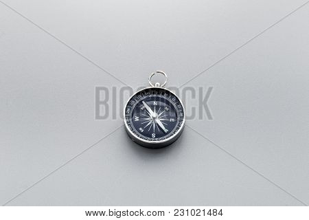 Direction Concept With Compass On Gray Table Background Top View Mockup