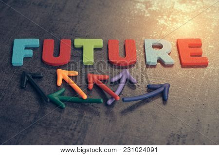 Uncertain Future For Life Journey Concept, Colorful Wooden Alphabets Arrage Word Future With Multi D