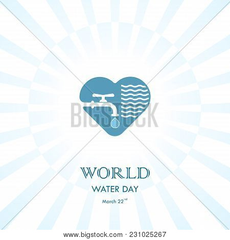 Water Drop And Water Tap Icon With Heart Shape Vector Logo Design Template.world Water Day Icon.worl