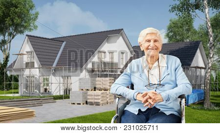 House handicapped accessible and age appropriate for old woman in a wheelchair (3D Rendering)