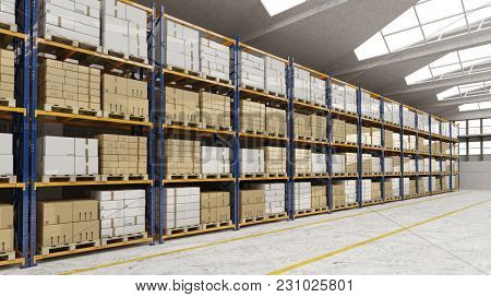 Many boxes on shelves in a warehouse of a freight forwarder (3D Rendering)