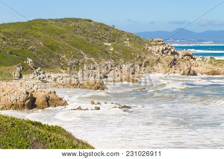 Hermanus Beach View, South Africa. Famous Whale Watching Point. African Landmark