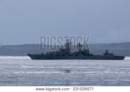 Russian Missile Cruiser In The Frozen Sea