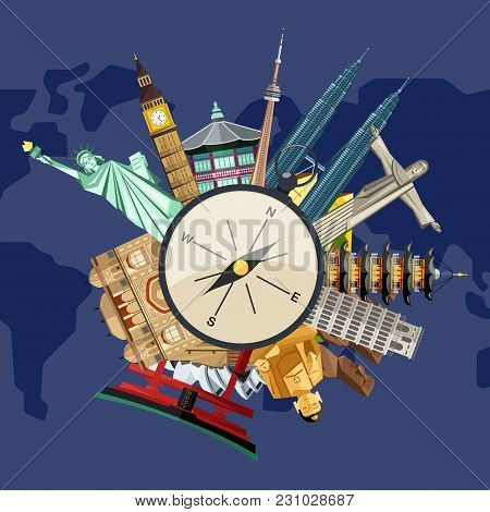 Time To Travel Concept With Compass On Background Of Famous Attractions Around. Colorful Illustratio
