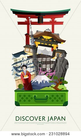 Discover Japan Banner With Famous Attractions In Big Open Suitcase. Travelling  Illustration. Time T