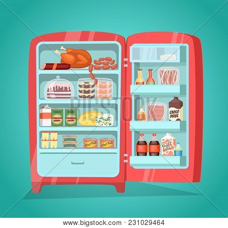 Retro Refrigerator Full Of Food. Vintage Fridge Filled With Daily Products  Illustration. Saving Fre