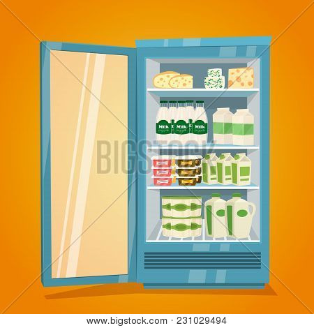 Commercial Refrigerator Full Of Dairy Products. Opened Fridge Filled With Bottles And Packs Of Milk,