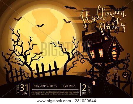 Halloween Party Banner With Spooky Castle On Tree In Mystic Forest At Night Under Full Moon. Cartoon