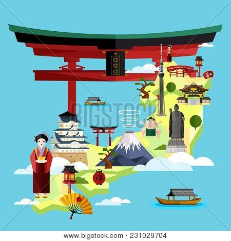 Japan Famous Landmarks And Travel Map With Asian Girl In Traditional Dress On Blue Background,  Illu