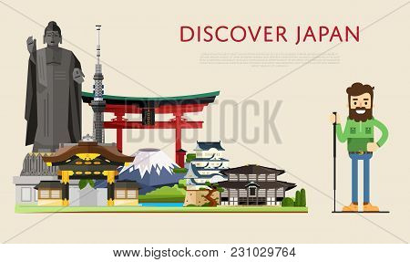 Discover Japan Banner With Smiling Tourist On Background Of Famous Traditional And Modern Asian Buil