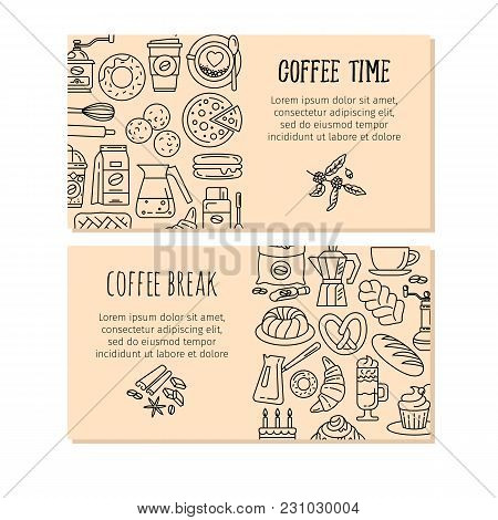 Coffee And Baking Design Banners. Modern Vector Icons For Coffee Shop And House. Colorful Template F