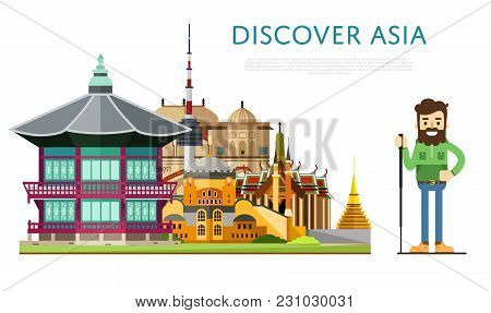 Discover Asia Banner With Smiling Tourist On Background Of Famous Traditional And Modern Architectur