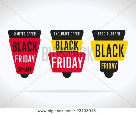 Black Friday Sale Tag Sticker  Isolated. Discount Or Special Offer Price Tag On Black Friday. Promo
