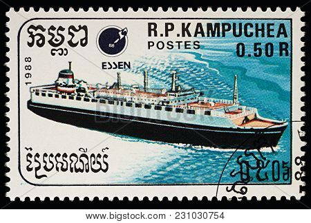 Moscow, Russia - March 13, 2018: A Stamp Printed In Cambodia Shows Passenger Cruise Liner, Series