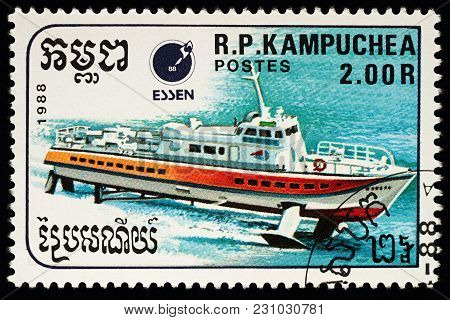 Moscow, Russia - March 12, 2018: A Stamp Printed In Cambodia Shows Hydrofoil, Series