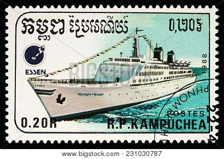 Moscow, Russia - March 13, 2018: A Stamp Printed In Cambodia Shows Ocean Liner