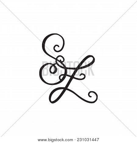 Handwritten Monogram Sz Icon, Logo With Swirls Isolated On White Background