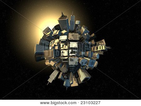 City Planet In Space