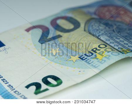 Twenty Euro Note - European Currency - Close Up Shot