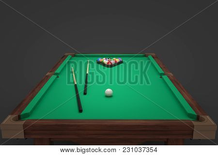 3d Rendering Of A Billiards Table With Two Cue Sticks And A Rack With Balls On Its Surface. Leisure