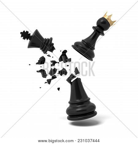 3d Rendering Of A Cracked Black Chess King Piece Breaks Under A Flying White Pawn With A Golden Crow