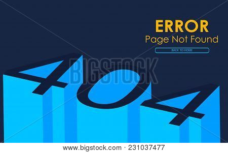 404 Error Page Not Found In 3d Style Vector Graphic