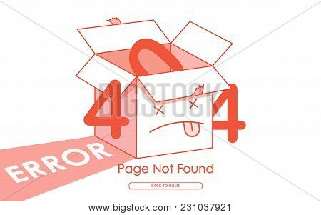 404 Box Line Red Error Page Not Found Vector Background