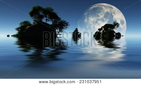 Small islands with green trees. Big moon rising. 3D rendering