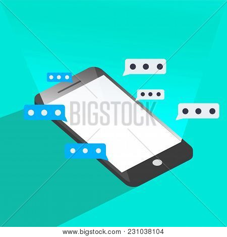 Phone Chat Flat Vector Graphic 3d Style Illustrations