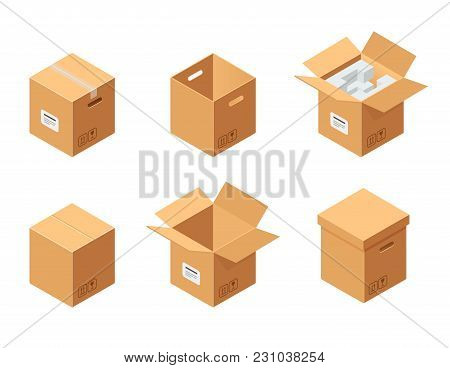 Carton Packaging Boxes Set. Isometric View. Closed And Open Packages On White Background