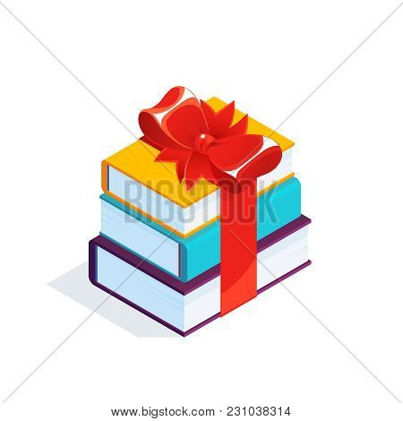 Isometric Stack Of Books Isolated On White Background. 3d Pile Of Books Tied With A Red Bow. Vector