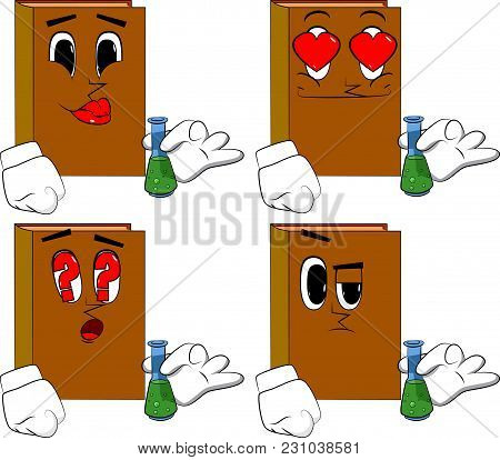Books Holding A Test Tube. Cartoon Book Collection With Various Faces. Expressions Vector Set.