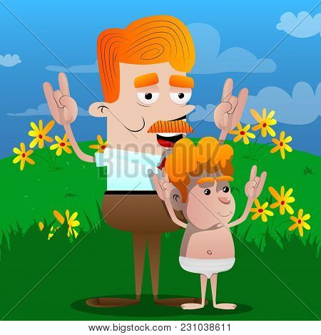 Happy Smiling Successful Businessman And Father With Hands In Rocker Pose With His Son. Vector Carto