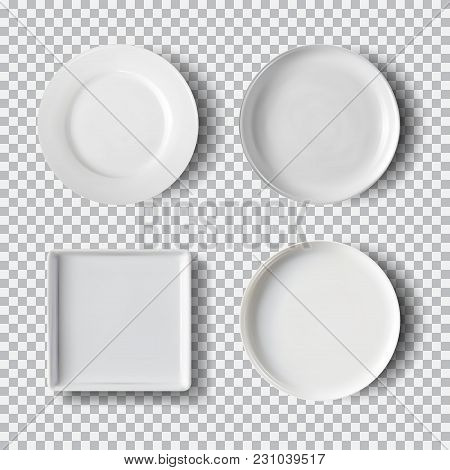 White Plate Set Isolated On Transparent Background. Kitchen Dishes, Plate And Dish Clean For Kitchen