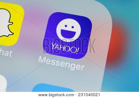 Sankt-petersburg, Russia, March 13, 2018: Yahoo Messenger Application Icon On Apple Iphone X Smartph