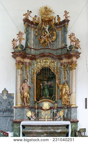 LEPOGLAVA, CROATIA - MARCH 17: The altar of St. Paul the Hermit, parish Church of the Immaculate Conception of the Virgin Mary in Lepoglava, Croatia on March 17, 2017.